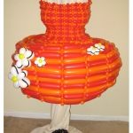 Whimsical Red & Orange Pouf Dress with Purse & Choker