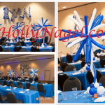 Blue and white blast tabletoppers, 4 ft tall