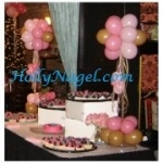 Pink and Mocha Table toppers, 3-ft